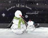 Christmas Art, Snowman, W...
