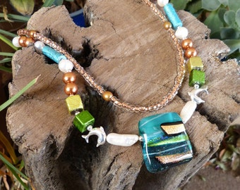 Dichroic Glass, Pearl and Seed Bead  Necklace Plus Earrings