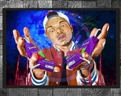 Juice: Chance the Rapper Print Hip Hop Rapper Illustration Home Decor Painting Poster