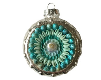 Blue Sailors Valentine Style Seashell Ornament