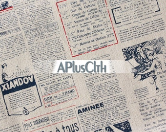 Zakka linen fabric,French script fabric,newspaper fabric,vintage style fabric,letter print fabric,vintage curtain fabric, tablecloth fabric