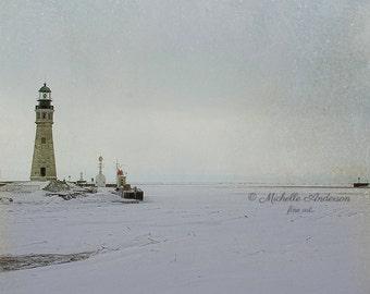 Frozen Lake / Buffalo NY /  light house / fine  art photography / travel photography/ Western NY / winter / canalside /  Office wall art