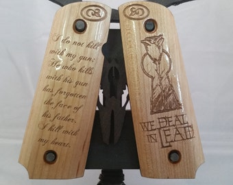 1911 Full Size Gunslinger Keyhole and Rose with Quote engraved MAPLE Grips
