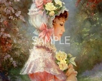 Fabric Art Quilt Block  - Romantic Beauty  - 8975- FREE Shipping