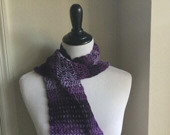 Purple Variegated hand crocheted scarf