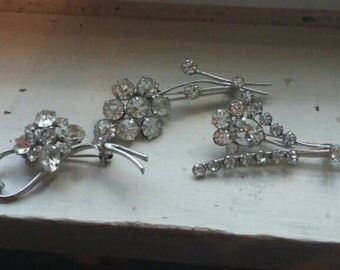 Jewelry Destash Three Rhinestone Pins. FREE SHIPPING!