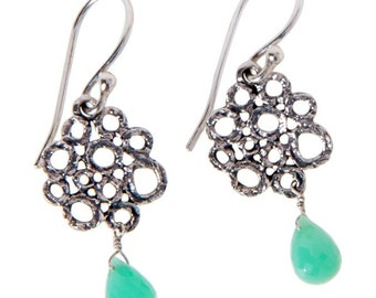 Sterling Silver Chrysoprase Earrings