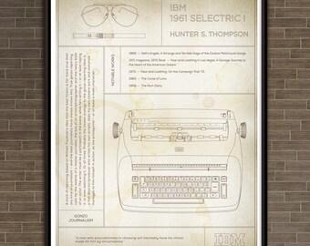 "IBM Selectric I: Hunter S. Thompson Typewriter ""Parchment"" Print"