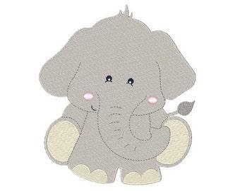 Elephant Machine Embroidery Design 070115  Safari Filled Stitch 2X2 4X4 5X7 8X8 6X10 Instant download