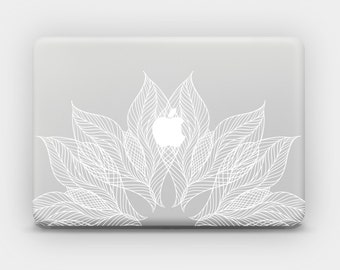 White Ink Transparent MacBook Skin MacBook Sticker MacBook Decal Laptop Skin MacBook Air MacBook Pro -  Lace Flower 2