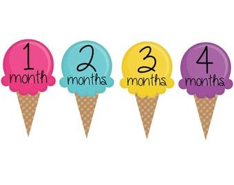 Milestone Baby Month Stickers- 12 month stickers- Monthly Stickers- Milestone Sticker- Baby Month Stickers- Baby Girl Month Stickers- G26