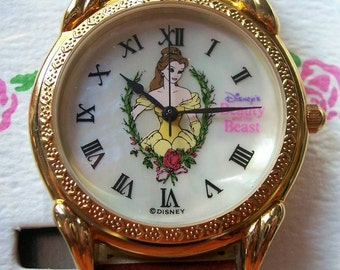 Disney Beauty and the Beast Watch! Mother of Pearl Dial with Belle! Hard To Find! New/UNWORN Working Perfectly!