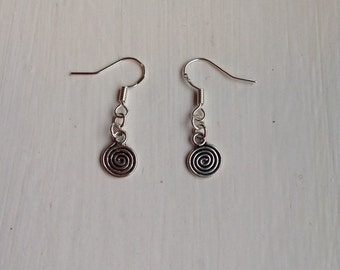 Spiral / swirl / circle sterling silver drop earrings