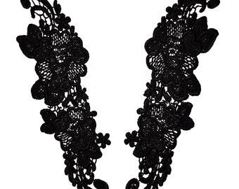 Black  Venise Guipure motis  Lace Applique Bridal Sew On Embellishment Floral Cording  Sewing Notions 243