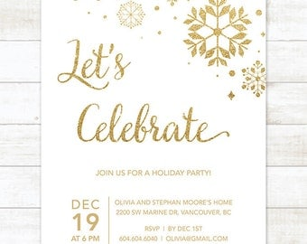 gold holiday party invitation printable snowflakes white gold glitter christmas party invitation card digital invite customizable
