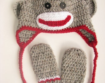 Sock Monkey Hat & Mittens Set