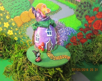 Miniature Witch House - Purple, Witch, with a Yellow & Pink Butterfly