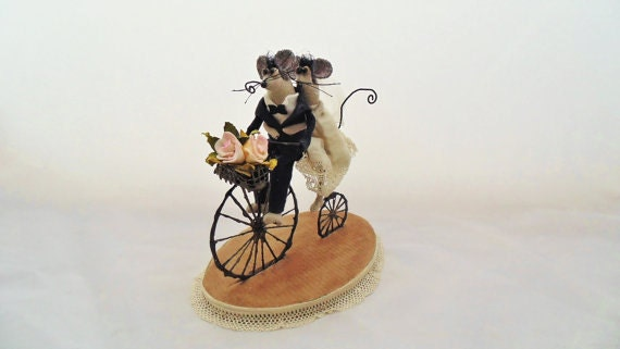 Wedding dolls - Art doll mouse - Wedding Cake Topper - Mice - Art sculpture - Dolls and Miniatures - Custom cake topper - Wedding day decor