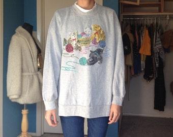 Vintage Cat Sweater - 90s/80s