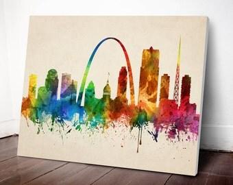 St Louis Skyline Canvas Print, St Louis Cityscape, St Louis Art Print, Home Decor, Gift Idea, USMOSL05C