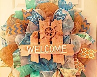 Last one left! Beach wreath, Summer wreath, welcome wreath, Island wreath, sea wreath, boat wreath, sailor wreath, spring wreath