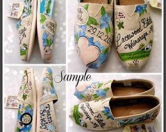 Bride's Love Story Wedding Shoes size 7 wedding shoes Custom Hand Painted Shoes Unique Custom TOMS Wedding Flats Painted Wedding Shoes