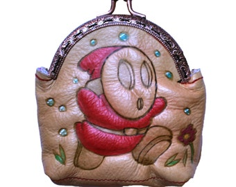 Leather purses pyrography Shy Guy