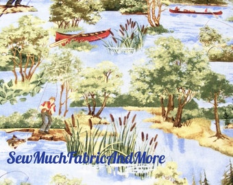 A Lazy Afternoon Fishing Theme Fabric~By the yard~Wilmington Prints~Canoes~Outdoor Sports~Fisherman~Cabin~Lodge