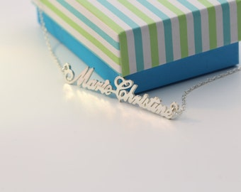 Silver Name Necklace Double Name Necklace Silver Names Necklace Couple Necklace BFF Jewelry