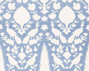 "Schumacher ""Chenonceau"" in Sky Custom Drapery-Lined and Interlined Curtains, Your Choice of Header Style, Sold in Pairs"