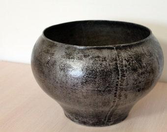 Vintage metal pot, Metal Vase, Grey Cast Iron Cauldron, Home decor