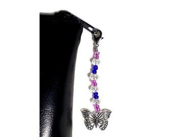 Beaded Butterfly Zipper Charm, Pink Blue Butterfly Zipper Pull, Backpack Bling, Bible Case Decoration, Jacket Zipper Ornament, Handbag Glitz