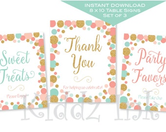 Birthday Table Signs | Coral, Mint and Gold | 8x10 each | Set of 3 | INSTANT DIGITAL DOWNLOAD for Printing