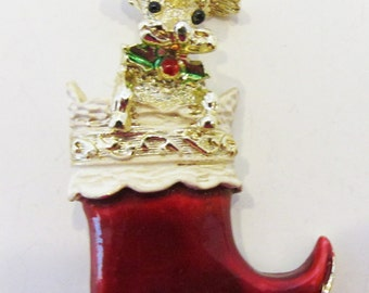 Adorable Vintage 1950s Signed Gerry's Christmas Stocking with Cute Puppy Pin