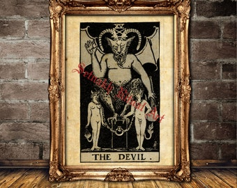 The Devil Tarot card print, magick, witch, fortune-teller, occult poster, Tarot reading, mystic, magic art, esoteric home decor #396.15