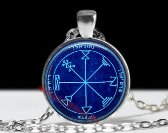 First pentacle of Jupiter pendant, talisman for acquiring money, treasure and for gaining busines, Solomon Seals, ritual amulet, occult #103
