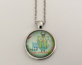 Owl Family - Glass Cabochon Pendant Necklace