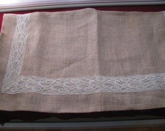 Square burlap table cloth with lace