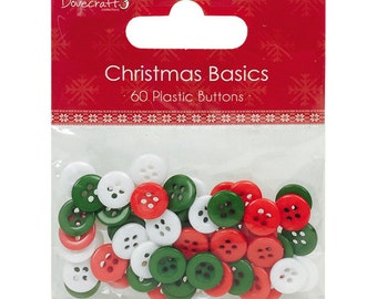 SALE - Christmas Basics Plastic Buttons - Red White Green Buttons - Pack of 60 - Round