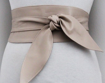 Beige soft Leather Obi Belt tulip tie  Waist Sash Belt   Real Leather Belt  Corset Waist Belt   Wrap Belt   Petite to Plus Size