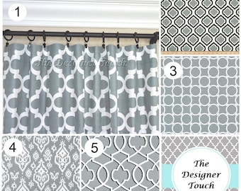 Grey Window Curtains.Grey Drapes.Trellis Curtain Panels.Ikat Curtains.Morrocan  Curtains