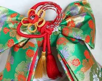 Girl's obi belt, Japanese traditional kid's kimono,green fabric ,for dress party, geisha costumes