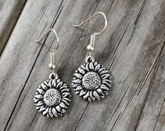 Simple Sunflower Earrings, Flower Earrings, Charm Earrings