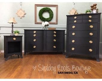Drexel Bedroom Set. SOLD  Black Vintage Bow front bedroom set by Drexel Long Dresser Tall Etsy