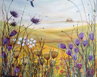 Summer View Down To The Sea . Original painting. Blackbird and Puffin