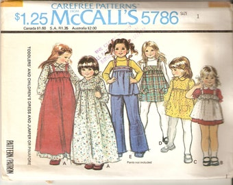 VINTAGE McCall's Sewing Pattern 5786 - Children's Clothes - Toddler Dress, Jumper & Pinafore, Size 1