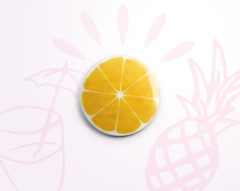 Lemon (or Orange, I suppose, if you like) one-inch pinback button badge - small pin