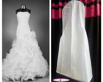 """Extra Large White Breathable Wedding Gown Bag Dress Garment Bag with 12"""" Gusset"""