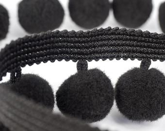 Large black pompons trim tape