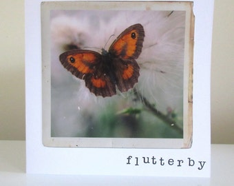 Flutterby, vintage style photography greetings card